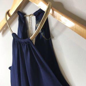 Laundry Navy w Gold Choker High Neck Halter Dress